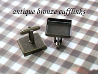 Wholesale mm square antique bronze cufflinks blank cufflink base metal cufflinks fashion jewelry cufflinks