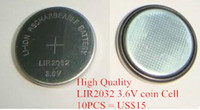Wholesale Rechargeable V LIR2032 Battery Li ion Button Cell V MAH coin button battery LIR can replace CR2032