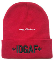 Beanie/Skull Cap Skullies & Beanies Letter IDGAF i don't give a fuck beanie hats for men women's fashion caps gray black red mens sport new hats winter knit hat 3 colors