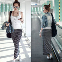 Women Cotton Pockets shirt LADY LOOSE WAIST DRAWSTRING STRIPED MAXI SKIRT POCKET GWF-6169