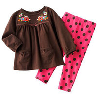 Girl Spring / Autumn Long Polka Dot Gilrs Sets Baby Outfits Brown Jumpers Girl's Suits Baby Girls Clothing Sets Long Sleeve Tshirts+Pants Suit