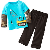 Wholesale 2014 Truck Children s Sets Baby Outfits Boys Long Sleeve Suits Crane Sets Baby Boys Clothes Retail Top Quality