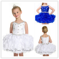 Wholesale 2014 Mini Miss Princess Spaghetti Strap White Little Girls Pageant Dresses Beaded Toddler Cupcake Pageant Dresses for Girls B