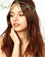 Wholesale Bohemia Ladies Headband Tiaras Gold Tone Crown T Stone Chain Hairband Head Band Headband Hair Jewelry Piece Party
