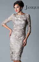 Wholesale 2014 New Plus Size Mother of the Bride Dresses Sheath SIlver Gry Lace Sleeve Jewel Neck Knee Tea Length Mother of the Groom Dress M1321