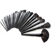 Wholesale S5Q x Professional Goat Hair Makeup Cosmetic Brush Set Black Case Kits Bag AAAASD