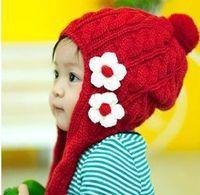 Wholesale baby cap floral beanies popular crochet hats top cotton chapeau warm label knitted tag colour hat DM37