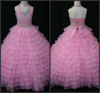 2014 nouvelle vente chaude rose perlé organza robe de bal robes fille fleur Pagent avec des perles Halter Encolure perlage cristal livraison gratuite