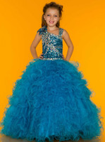 Wholesale 2014 Hot Selling Sequin Bodice Junior Pageant Dresses Little Girls Kids Princess Crystal Ruffles Net Sugar Flower Girls Dresses with Straps