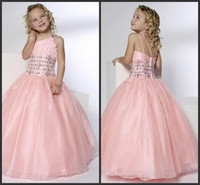 Wholesale 2014 pink organza Pretty Beadings Girls Pageant Dresses Princess One Shoulder Ball Gown Floor Length Zipper Tulle Pink Flower Girls Dresses