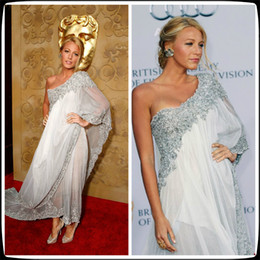 Wholesale Marchesa White Gossip Girl Blake Lively Sheath Sheer Celebrity Dresses with Lace Beads and Asymmetrical Chiffon One Shoulder Evening Gowns