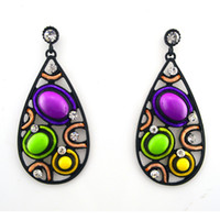 Wholesale ER high quality standed gauge gothic earings Beas with beautiful rhinestone New Hot Sell Vintage Drop Earrings Jewelery