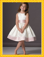 accent trim - New Arrival Knee Length Satin Jewel Neckline A Line Flower Girl Dress With Pleated Waist Trim Accents Beautiful Girl s Pageant Dresses