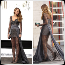 Wholesale Gossip Girl Fashion Blake Lively Zuhair Murad Grey Long Sleeves Lace Beaded Celebrity Dresses Floor Length V Neck Prom Evening Gowns