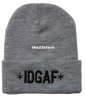 Beanie/Skull Cap Skullies & Beanies Letter 2014 new IDGAF i don't give a fuck beanie hats and caps for men women gray black red mens sport new hats winter knit hat 3 colors