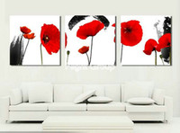Wholesale Poppy Oil Paintings Discount Wall Art Wall Decoration Oil Paint With Red Flowers On Canvas OP427