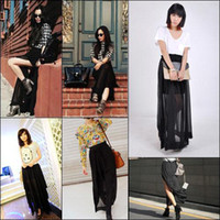 Chiffon Long  S5Q Womens Sexy Black Sheer Maxi See-Through Chiffon Side Splits Long Full Skirt AAAAWH