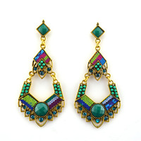 Wholesale ER fashon gauge heart victoria turkish vintage gold plated mix colour turquoise ally cilebrity ear rings