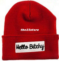 Wholesale quot Hello Bitchy quot Beanie Winter New Knitted Wool Cap Fashion Embroidered Black Warm Hat For Boy Girls Beanies