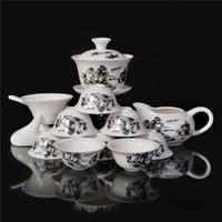 Wholesale Landscape Paintings Chinese Ceramic Gongfu Tea Service Set Porcelain Gaiwan Bone China Tea Cup New Design Sale
