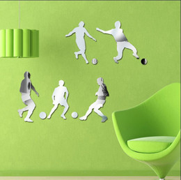 Wholesale Acrylic Crystal Mirror Wall Sticker Popular Sports Combo Golf Basketball Football Skate Ballet Stickers D DIY Home decor Pictures for Kids