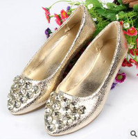 Women silver flats - Dress Shoes Women Flat Shoes Crystals Gold Silver Color Mix