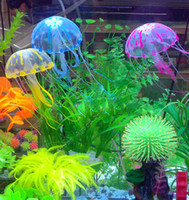 Wholesale 2014 New Cute Fluorescent Glowing Effect Jellyfish Aquarium Fish Tank Ornament Swim Pool Bath Decoration
