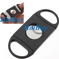 stainless steel pocket knives - Pocket Plastic Stainless Steel Double Blades Cigar Cutter Knife Scissors Tobacco Black New