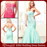 Reference Images Sweetheart Chiffon 2014 Aqua Watermelon Cheap Mermaid Prom Dresses Sweetheart Ruched Floor Length Evening Gowns with Beads and Crystals
