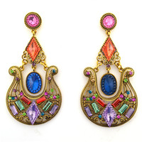 Dangle & Chandelier big earrings sale - ER epic holiday gift sale big chandelier vintage resin plastic crystal earrings fashion jewelry