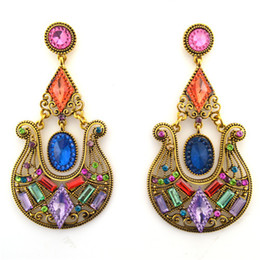 Wholesale ER epic holiday gift sale big chandelier vintage resin plastic crystal earrings fashion jewelry