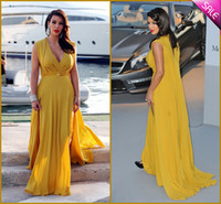 Model Pictures V-Neck Chiffon New Arrival 2014 Kim Kardashian Dress Elie Saab Gold Evening Dresses V Neck Split Sash Chiffon Celebrity Gowns Party Gown