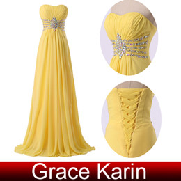 Wholesale GK New Arrival Ruched Strapless Sweetheart Long Chiffon Evening Dresses A Line Yellow Formal Gowns with Beaded Sequins CL6002