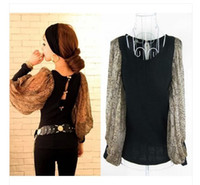 Wholesale 2014 women s back sexy serpentine pattern lantern sleeve chiffon patchwork Sexy fashion blouse