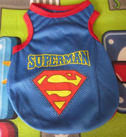 Wholesale 10 pieces Mesh Superman small dog cat pet puppy t shirt summer clothes