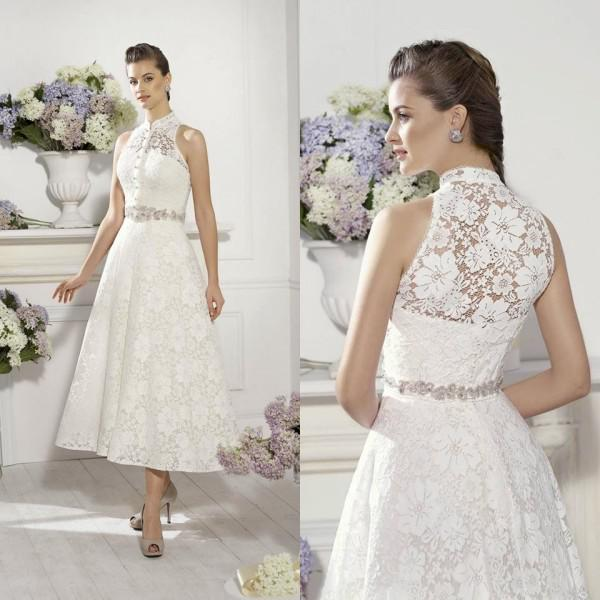 Buy LQ-062 New Fashioned Beautiful Short Wedding Dress High Neckline Empire Sleeveless Sashes Country Style Casual 2014 Lace Dresses