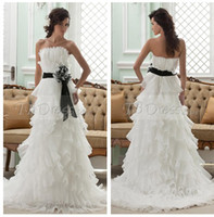 Wholesale 2014 Amazing Empire Strapless Cascading Ruffles Tiers Sleeveless Black and White hand Made Flower on Sash Court Wedding Dress