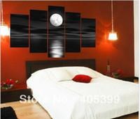 al por mayor white canvas art-pinturas al óleo sobre lienzo negro blanco decoración del hogar imagen moderna pintura al óleo abstracta del paisaje de la pared del arte paisaje natural noche de luna