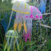 Wholesale Fedex New Cute Fluorescent Glowing Effect Jellyfish Aquarium Fish Tank Ornament Swim Pool Bath Decoration