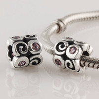 Wholesale 1 Original ALE Sterling Silver Screw Swirlies Charm Bead with Pink Zirconia suitable for European pandora Bracelets amp Necklaces LW151A