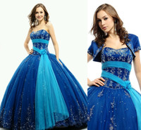 Fashion 2014 Strapless 15 Blue Sequin Quinceanera Dresses Cr...