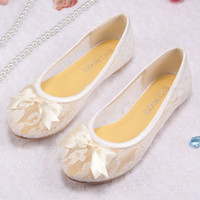 Wholesale Free Drop Shipping Ivory Lace Ballet Flats Bridal Wedding Shoes Women With Ribbon Bowtie
