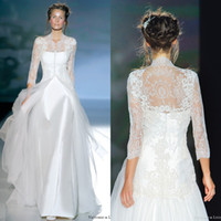 A-Line Reference Images V-Neck Newest Pattern 2014 Free Shipping A-line Satin Sexy Bridal Wedding Dresses With Sexy V Neck Sweep Train Long Sleeves Sheer Lace With Jacket