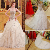 cover wedding - 2014 Hot A line Wedding Dresses White Lace Covered Strapless Dazzling Beaded Sequins and Crystals A line Lace up Fashion Bridal Gown