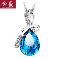 Wholesale Genuine sterling silver necklace Austrian crystal diamond necklace clavicle short paragraph Korean jewelry gift lettering