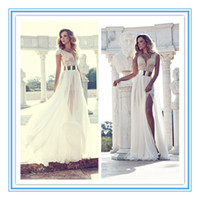 Wholesale New Sexy Russian Unique High Slit V Neck Gold Belt Beads Wedding Dress Bridal Dress