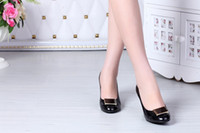 Wholesale free hongkong post f652 colors genuine leather plate heels pumps