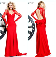 Wholesale New Lace Evening Dresses Red Sweetheart Sheer Long Sleeve Sexy Backless Bow Semi Peplum Sheath Long Formal Gowns Prom Dress Tarik Ediz