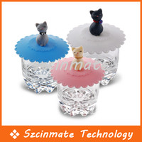 Wholesale Lovely Creative Silicone Cat Cup Cover Airtight Cap Lid