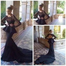 2015 Sheer Neck Evening dresse black chiffon and lace Floor length mermaid full length Long sleeves Chapel train Wedding New Prom Dress 0001